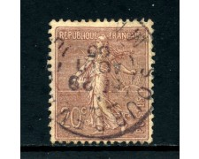 1903 - FRANCIA - 20c. BRUNO LILLA SEMINATRICE FONDO A LINEE - USATO - LOTTO/27094