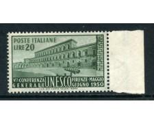 1950 - REPUBBLICA - 20 LIRE UNESCO - NUOVO - LOTTO/27163