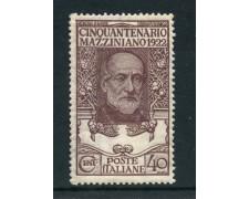 1922 - REGNO - 40 c. GIUSEPPE MAZZINI - LINGUELLATO - LOTTO/27216