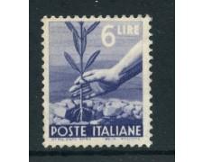 1945/46 - REPUBBLICA - 6 LIRE DEMOCRATICA - NUOVO - LOTTO/27218