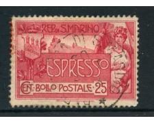 1907 - SAN MARINO - 25c. ESPRESSO - USATO - LOTTO/27223