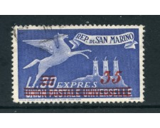 1947/48 - SAN MARINO - 35 SU 30 LIRE  ESPRESSO - USATO - LOTTO/27224