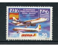 1986 - URUGUAY - I° VOLO  URUGUAY SPAGNA - LOTTO/27868