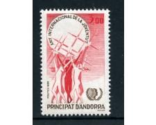 1985 - ANDORRA FRANCESE - ANNO DELLA GIOVENTU'- NUOVO - LOTTO/27892