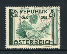 1955 - AUSTRIA - 2,40 ANNIV. SECONDA REPUBBLICA - USATO - LOTTO/27916