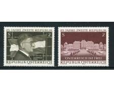 1970 - AUSTRIA - 25° DELLA SECONDA REPUBBLICA 2v.- NUOVI - LOTTO/27948