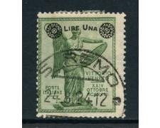 1924 - REGNO - 1 LIRA SU 5c. VERDE  VITTORIA - USATO - LOTTO/28110