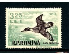 1956 - ROMANIA - 3,25 LEI  ANATRA SELVATICA - T/L - LOTTO/28390