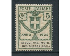 1924 - REGNO - 5c.ASSOCIAZIONI INVALIDI GUERRA - LING. - LOTTO/28427