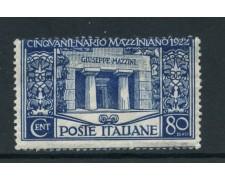 1922 - REGNO - 80 c. GIUSEPPE MAZZINI - LING - LOTTO/28428