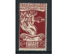 1922 - REGNO - 25 c. GIUSEPPE MAZZINI - LING - LOTTO/28429