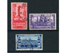1931 - REGNO - ACCADEMIA NAVALE DI LIVORNO 3v. - USATI - LOTTO/28432