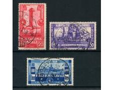 1931 - REGNO - ACCADEMIA NAVALE DI LIVORNO 3v. - USATI - LOTTO/28433