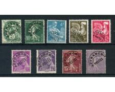1922/1959 - FRANCIA - 9 FRANCOBOLLI PREANNULLATI - USATI - LOTTO/28454