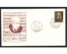 1966 - REPUBBLICA - BENEDETTO CROCE - BUSTA FDC - LOTTO/28626