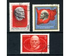 1970 - RUSSIA - CENTENARIO NASCITA DI LENIN 3v. - USATI - LOTTO/28650