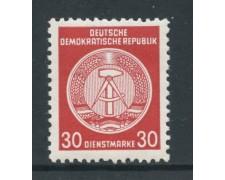 1954 - GERMANIA DDR - SERVIZIO - 30p. ROSSO BRUNO STEMMA - NUOVO - LOTTO/28655