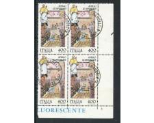 1989 - REPUBBLICA  - FOLCLORE SPELLO - QUARTINA USATA - LOTTO/28910