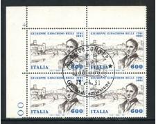 1991 - REPUBBLICA - GIOACCHINO BELLI - QUARTINA FDC - LOTTO/28929