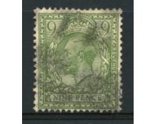 1912/22 - LOTTO/3856 - GRAN BRETAGNA - 9p. VERDE OLIVA - USATO