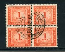 1947 - LOTTO/4807 - REPUBBLICA - 1 LIRA SEGNATASSE - QUARTINA USATA