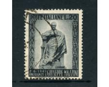 1949 - LOTTO/6079Uc - REPUBBLICA - 20 Lire MONUMENTO A MAZZINI - USATO