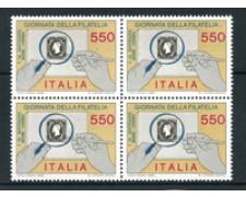 1986 - LOTTO/6866Q - REPUBBLICA - GIORNATA DELLA FILATELIA - QUARTINA