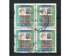 1987 - LOTTO/6867UQ - REPUBBLICA - 20.000 LIRE QUARTINA USATA