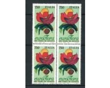 1991 - LOTTO/6954Q - REPUBBLICA - EUROFLORA 91 - QUARTINA NUOVI