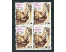 1991 - LOTTO/6971Q - REPUBBLICA - BICENTENARIO DI MOZART QUARTINA NUOVI