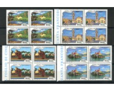 1994 - LOTTO/7036Q - REPUBBLICA - SERIE TURISTICA 4v. QUARTINE