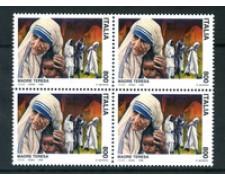 1998 - LOTTO/7204A - REPUBBLICA - 800 LIRE MADRE TERESA DI CALCUTTA - QUARTINA NUOVI