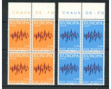 1972 - LOTTO/7934Q - SAN MARINO - EUROPA  QUARTINE NUOVI