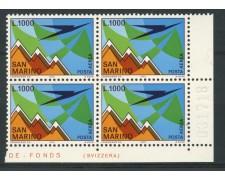 1972 - LOTTO/7939QN - SAN MARINO - POSTA AEREA M.TITANO - QUARTINA