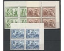 1985 - LOTTO/8057Q - SAN MARINO - A. MANZONI 3v. - QUARTINE NUOVI