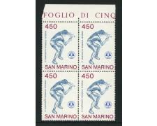 1986 - LOTTO/8066QN - SAN MARINO - TENNIS DA TAVOLO - QUARTINA NUOVI