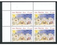1999 - LOTTO/2014N - SAN MARINO - NATALE - QUARTINA NUOVA