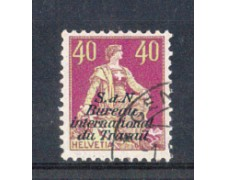 1924 - LOTTO/3110U - SVIZZERA - 40c. BUREAU INTERNATIONAL DU TRAVAIL - USATO