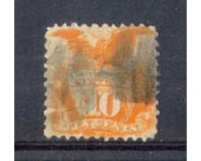 1869 - LBF/2937 - STATI UNITI - 10c. GIALLO SCUDO E AQUILA - USATO