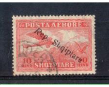 1927 - LOTTO/ALBAA9U - ALBANIA - 10q. POSTA AEREA USATO
