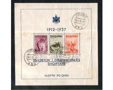 1937 - LOTTO/ALBBF1U - ALBANIA -  FOGLIETTO INDIPENDENZA  USATO