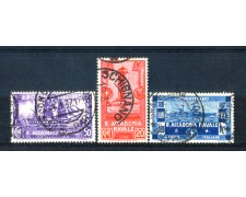 1931 - LOTTO/REG302CPU - REGNO - ACCADEMIA NAVALE 3v. USATI