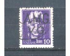 1945 - LOTTO/AMG11U - VENEZIA GIULIA - 10 LIRE VIOLETTO USATO