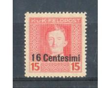1918 - LOTTO/OCA8N - OCCUPAZ.AUSTRIACA - 16 CENT. SU 15 H. NUOVO