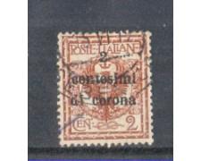 1919 - LOTTO/TT2U  - TRENTO e TRIESTE - 2 CENT. SU 2 CENT. ROSSO BRUNO USATO