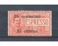 1919 - LOTTO/TTE1L - TRENTO e TRIESTE - 25c. SU 25c. ESPRESSO  LING.