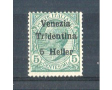 1919 - LOTTO/TNT28L - TRENTINO - 5h. SU 5 CENT. VERDE LING.