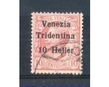 1919 - LOTTO/TNT29U - TRENTINO - 10h. SU 10 CENT. ROSA  USATO