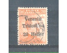1919 - LOTTO/TNT30U - TRENTINO - 20h. SU 20 CENT. ARANCIO  USATO
