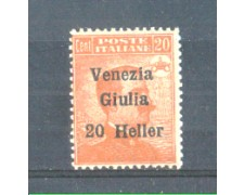 1919 - LOTTO/VNG31N - VENEZIA GIULIA - 20h. su 20c. ARANCIO NUOVO
